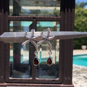 Garnet Sterling Silver Starfish Earrings